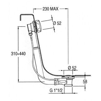 Vidage pour baignoire standard apparent à cable