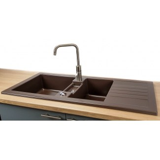 "Ceramic sink ""Soft"" 2 Bins + Drip tray."
