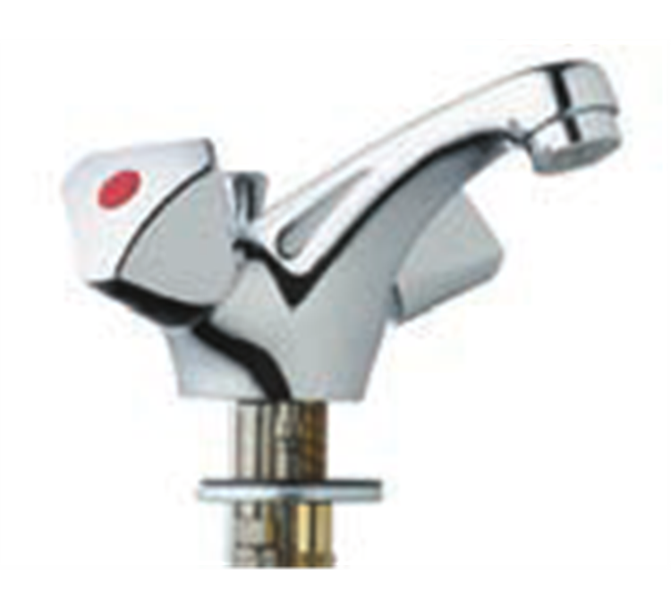 Single-hole basin mixer with fixed spout