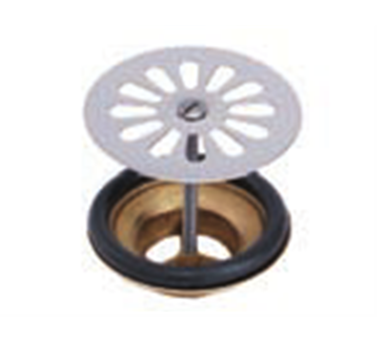 Sink drain with brass grille